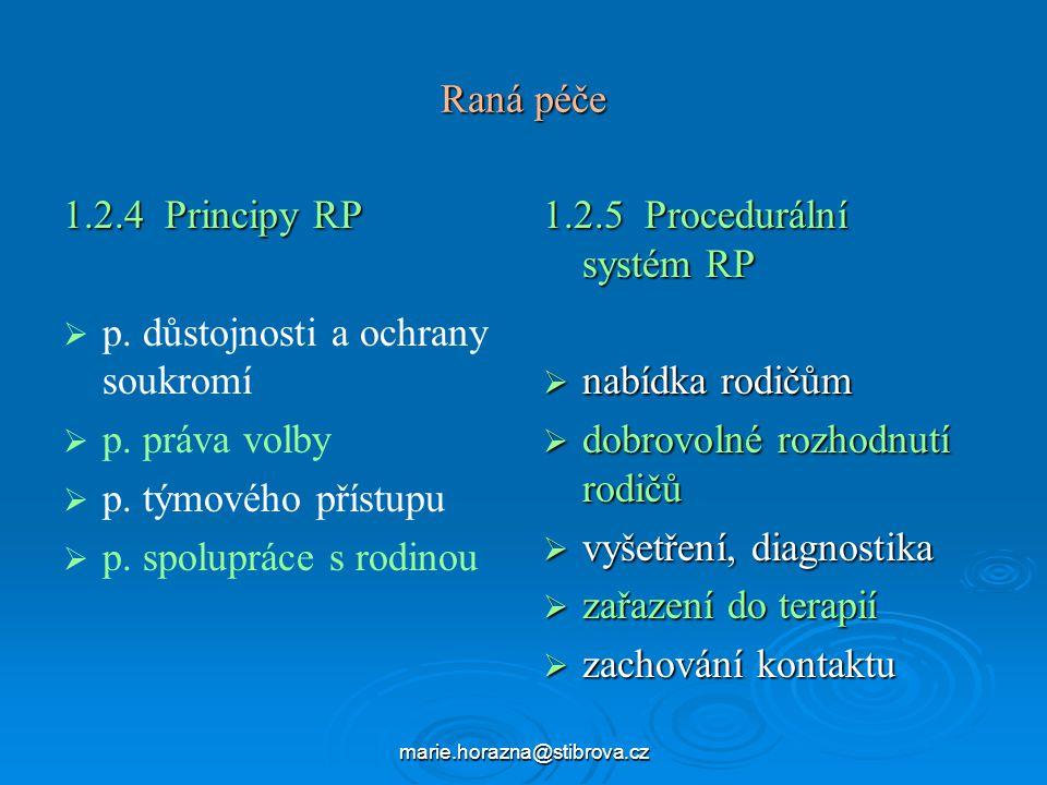 marie.horazna@stibrova.cz Raná péče 1.2.4 Principy RP   p.