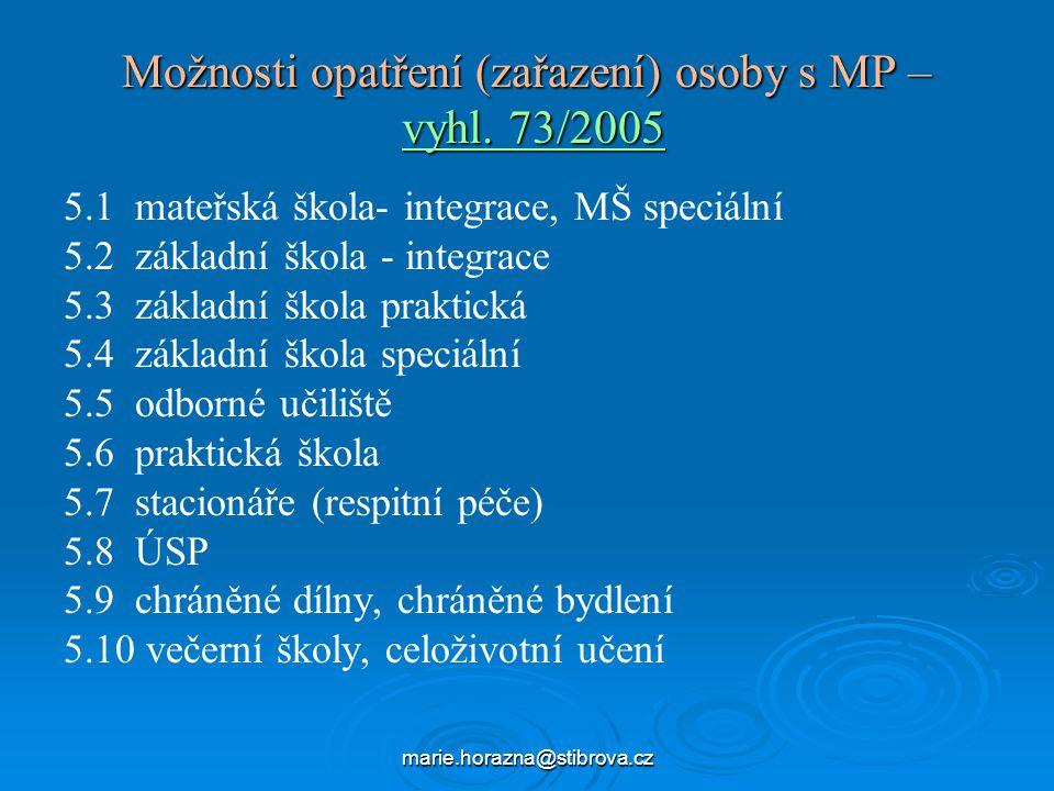 marie.horazna@stibrova.cz Možnosti opatření (zařazení) osoby s MP – vyhl.