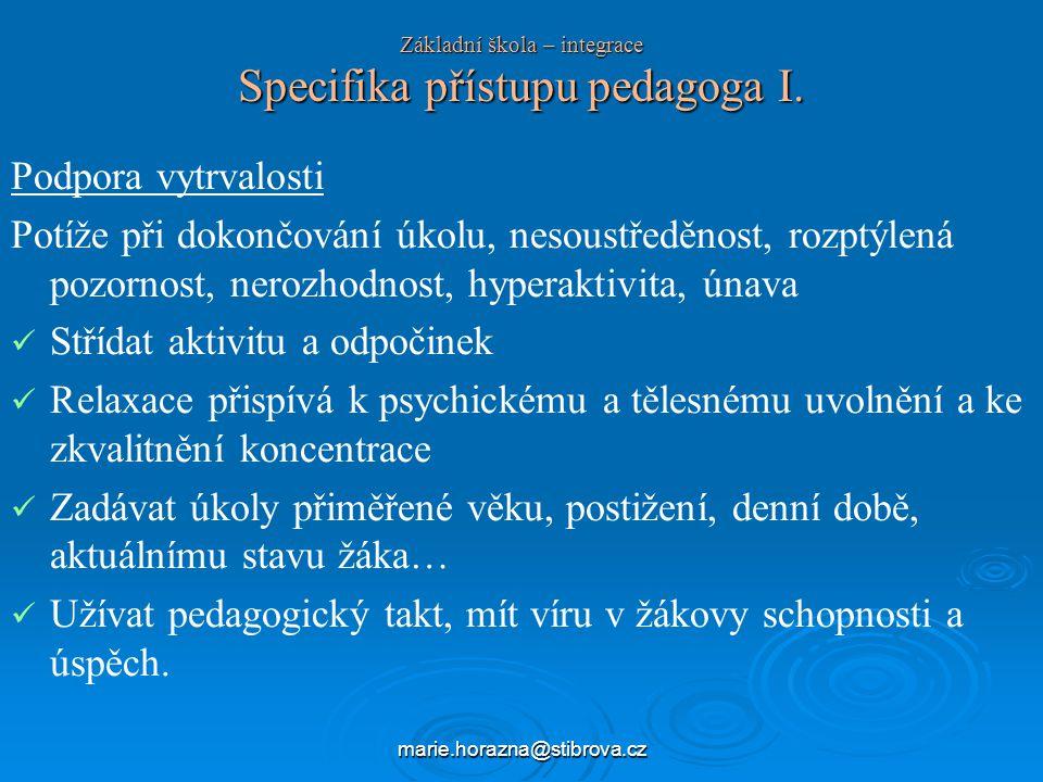 marie.horazna@stibrova.cz Základní škola – integrace Specifika přístupu pedagoga I.