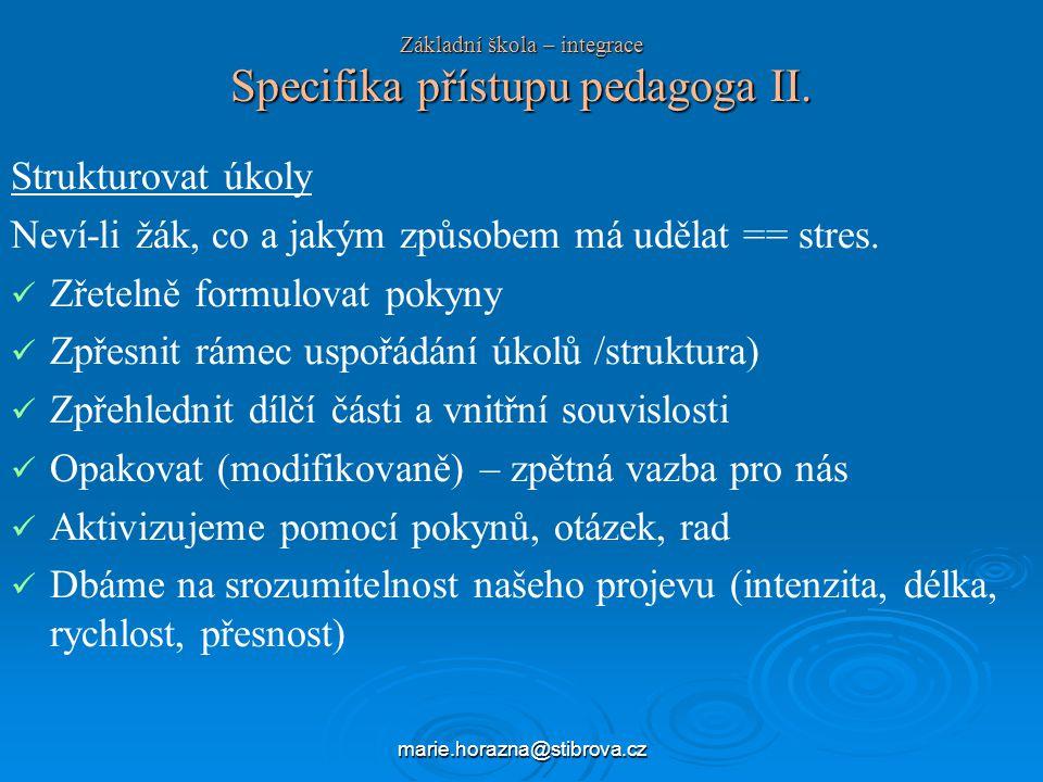 marie.horazna@stibrova.cz Základní škola – integrace Specifika přístupu pedagoga II.
