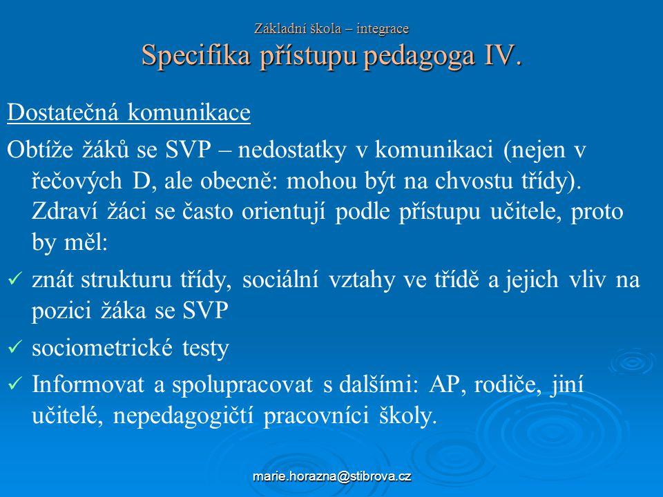 marie.horazna@stibrova.cz Základní škola – integrace Specifika přístupu pedagoga IV.