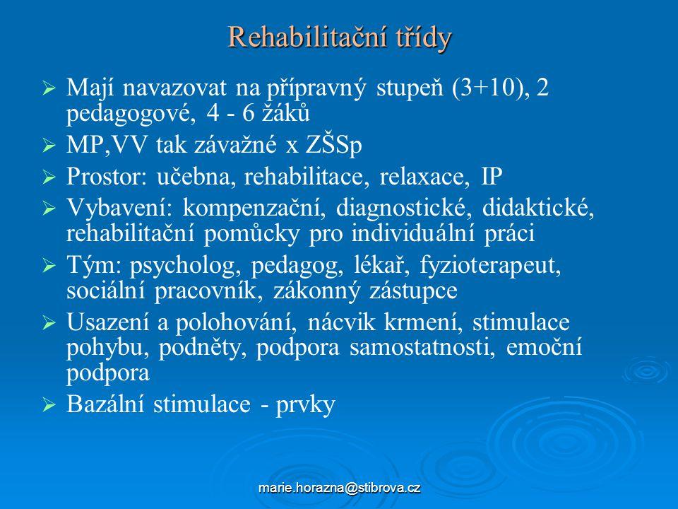 marie.horazna@stibrova.cz Rehabilitační třídy   Mají navazovat na přípravný stupeň (3+10), 2 pedagogové, 4 - 6 žáků   MP,VV tak závažné x ZŠSp   Prostor: učebna, rehabilitace, relaxace, IP   Vybavení: kompenzační, diagnostické, didaktické, rehabilitační pomůcky pro individuální práci   Tým: psycholog, pedagog, lékař, fyzioterapeut, sociální pracovník, zákonný zástupce   Usazení a polohování, nácvik krmení, stimulace pohybu, podněty, podpora samostatnosti, emoční podpora   Bazální stimulace - prvky