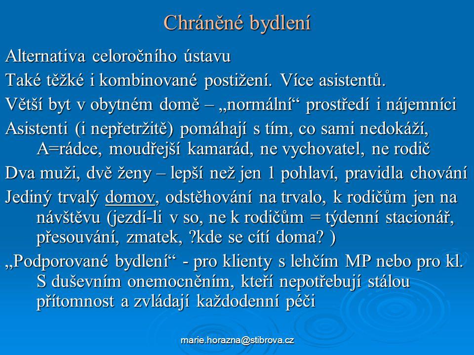 marie.horazna@stibrova.cz Chráněné bydlení Alternativa celoročního ústavu Také těžké i kombinované postižení.