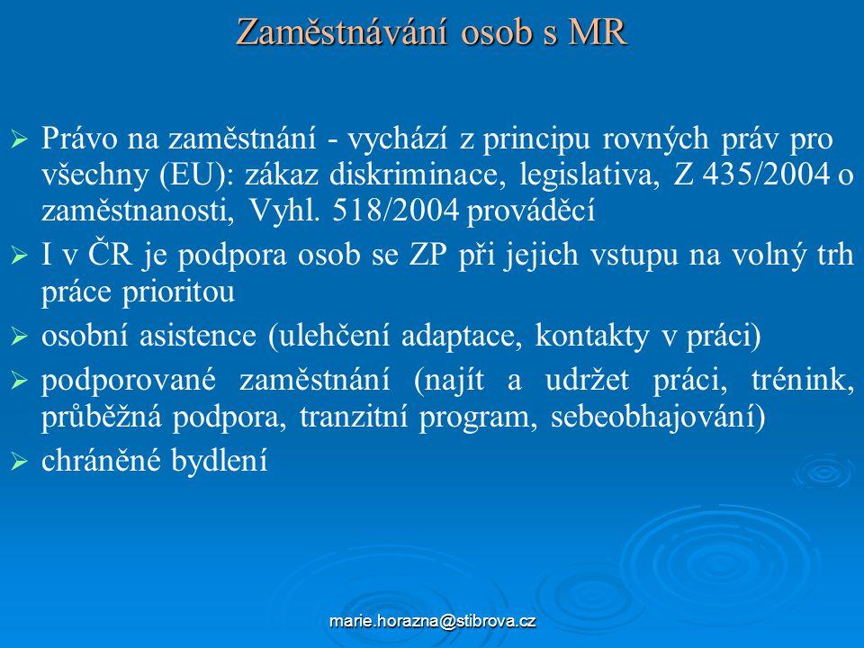marie.horazna@stibrova.cz Zaměstnávání osob s MR   Právo na zaměstnání - vychází z principu rovných práv pro všechny (EU): zákaz diskriminace, legislativa, Z 435/2004 o zaměstnanosti, Vyhl.
