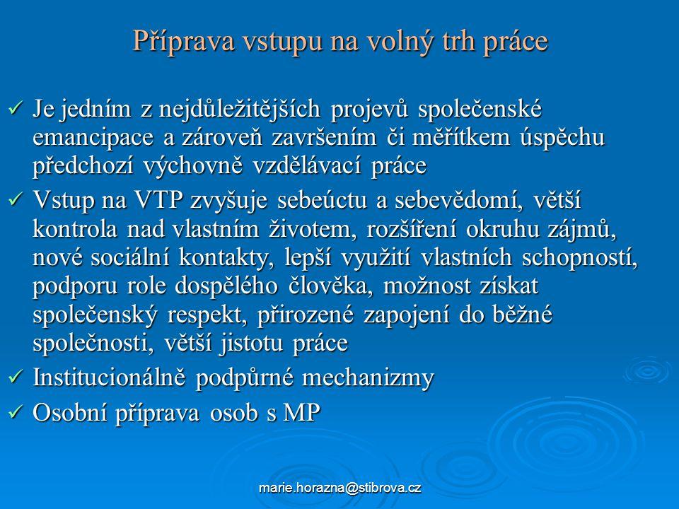 marie.horazna@stibrova.cz Příprava vstupu na volný trh práce Je jedním z nejdůležitějších projevů společenské emancipace a zároveň završením či měřítkem úspěchu předchozí výchovně vzdělávací práce Je jedním z nejdůležitějších projevů společenské emancipace a zároveň završením či měřítkem úspěchu předchozí výchovně vzdělávací práce Vstup na VTP zvyšuje sebeúctu a sebevědomí, větší kontrola nad vlastním životem, rozšíření okruhu zájmů, nové sociální kontakty, lepší využití vlastních schopností, podporu role dospělého člověka, možnost získat společenský respekt, přirozené zapojení do běžné společnosti, větší jistotu práce Vstup na VTP zvyšuje sebeúctu a sebevědomí, větší kontrola nad vlastním životem, rozšíření okruhu zájmů, nové sociální kontakty, lepší využití vlastních schopností, podporu role dospělého člověka, možnost získat společenský respekt, přirozené zapojení do běžné společnosti, větší jistotu práce Institucionálně podpůrné mechanizmy Institucionálně podpůrné mechanizmy Osobní příprava osob s MP Osobní příprava osob s MP