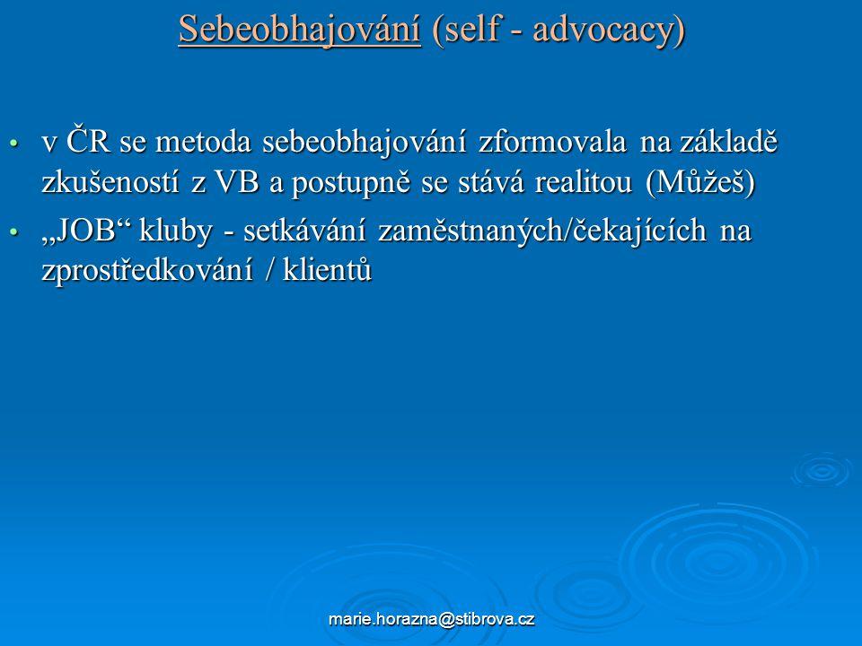 """marie.horazna@stibrova.cz Sebeobhajování (self - advocacy) v ČR se metoda sebeobhajování zformovala na základě zkušeností z VB a postupně se stává realitou (Můžeš) v ČR se metoda sebeobhajování zformovala na základě zkušeností z VB a postupně se stává realitou (Můžeš) """"JOB kluby - setkávání zaměstnaných/čekajících na zprostředkování / klientů """"JOB kluby - setkávání zaměstnaných/čekajících na zprostředkování / klientů"""