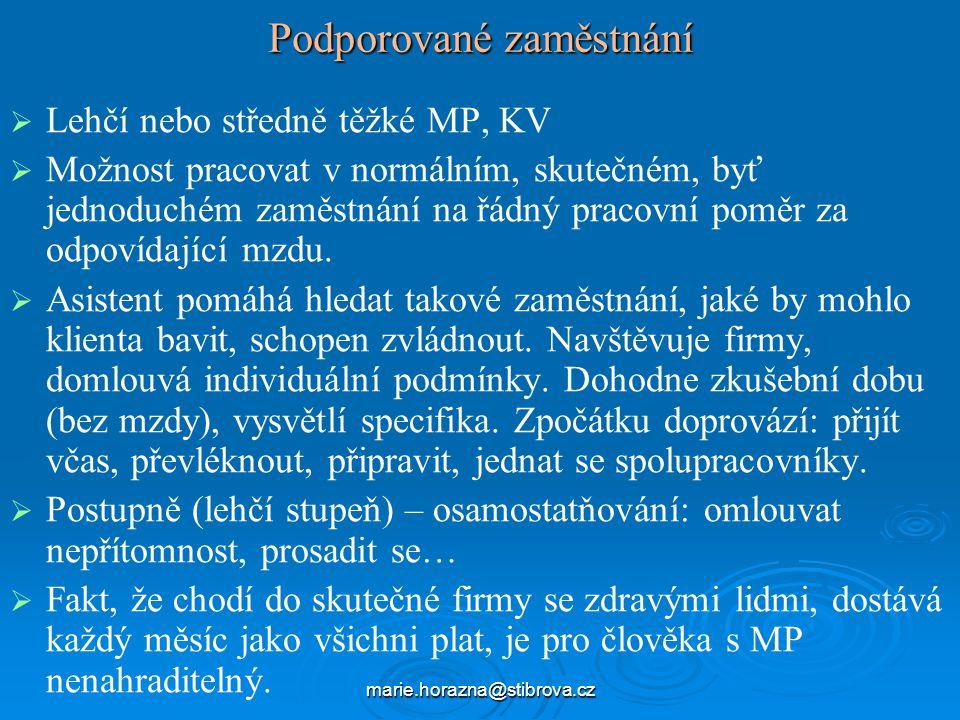marie.horazna@stibrova.cz Podporované zaměstnání   Lehčí nebo středně těžké MP, KV   Možnost pracovat v normálním, skutečném, byť jednoduchém zaměstnání na řádný pracovní poměr za odpovídající mzdu.