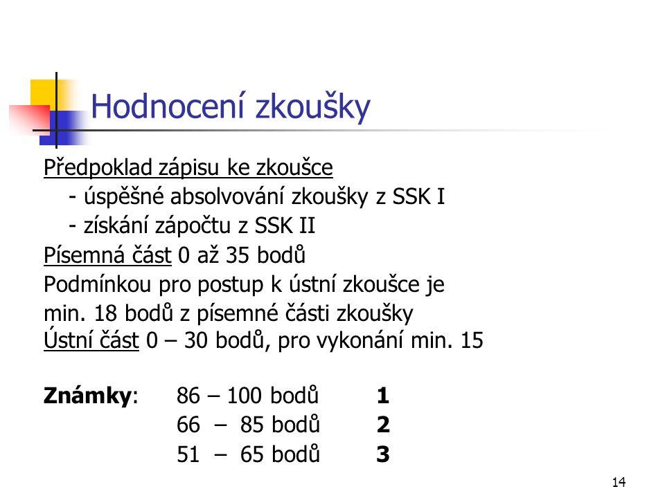 14 Hodnocení zkoušky Předpoklad zápisu ke zkoušce - úspěšné absolvování zkoušky z SSK I - získání zápočtu z SSK II Písemná část 0 až 35 bodů Podmínkou pro postup k ústní zkoušce je min.