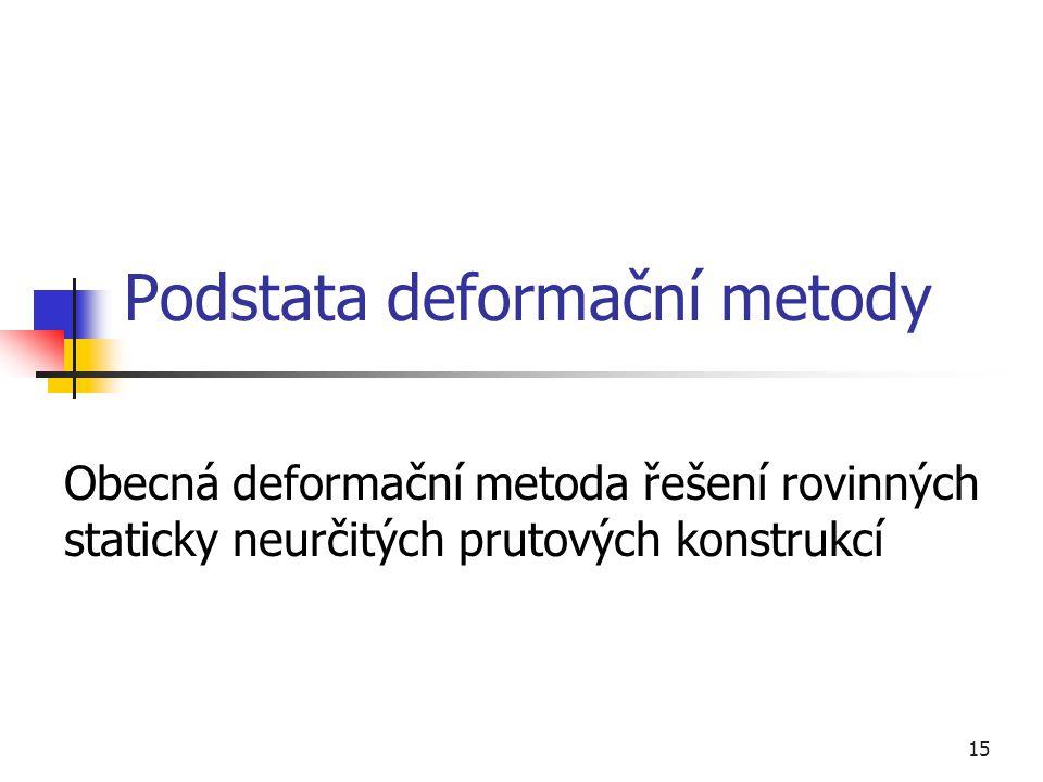 15 Podstata deformační metody Obecná deformační metoda řešení rovinných staticky neurčitých prutových konstrukcí