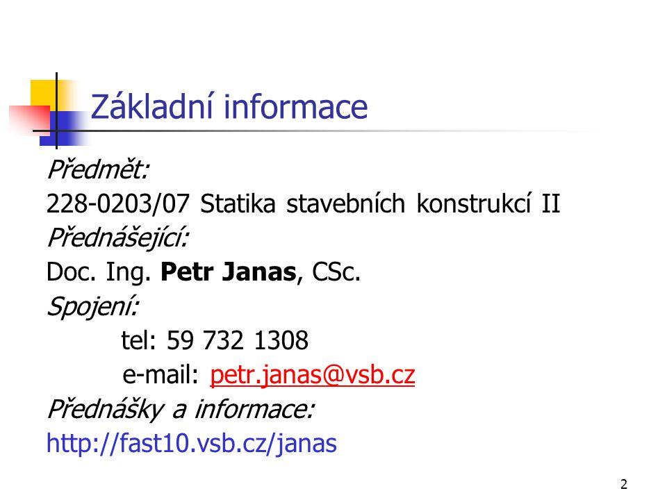 2 Základní informace Předmět: 228-0203/07 Statika stavebních konstrukcí II Přednášející: Doc.