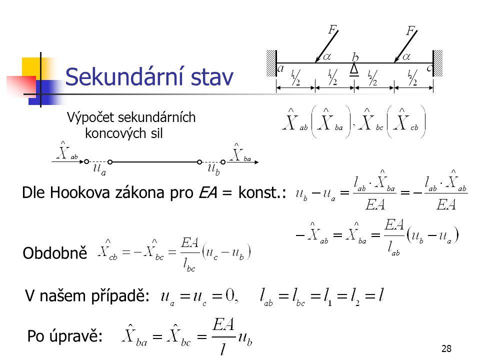 28 Sekundární stav Výpočet sekundárních koncových sil Dle Hookova zákona pro EA = konst.: Obdobně V našem případě: Po úpravě: