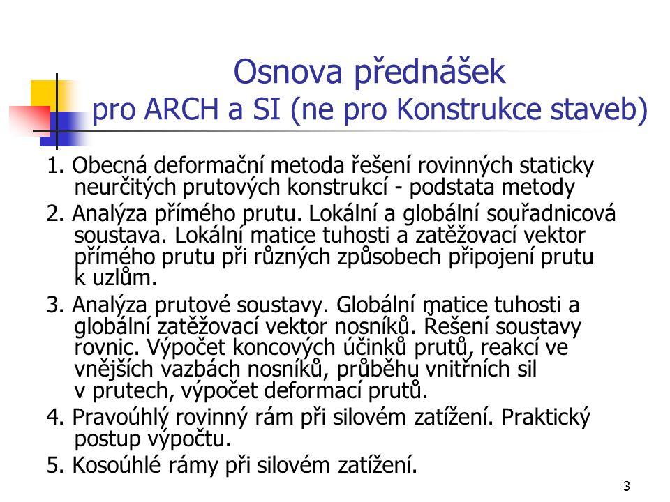 3 Osnova přednášek pro ARCH a SI (ne pro Konstrukce staveb) 1.