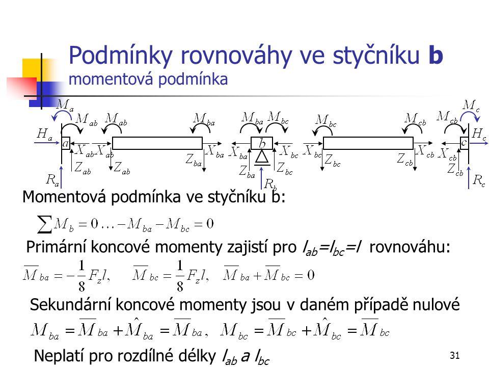 31 Podmínky rovnováhy ve styčníku b momentová podmínka Momentová podmínka ve styčníku b: Primární koncové momenty zajistí pro l ab =l bc =l rovnováhu: Sekundární koncové momenty jsou v daném případě nulové Neplatí pro rozdílné délky l ab a l bc