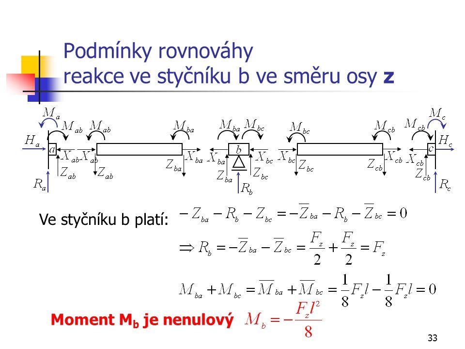 33 Podmínky rovnováhy reakce ve styčníku b ve směru osy z Ve styčníku b platí: Moment M b je nenulový