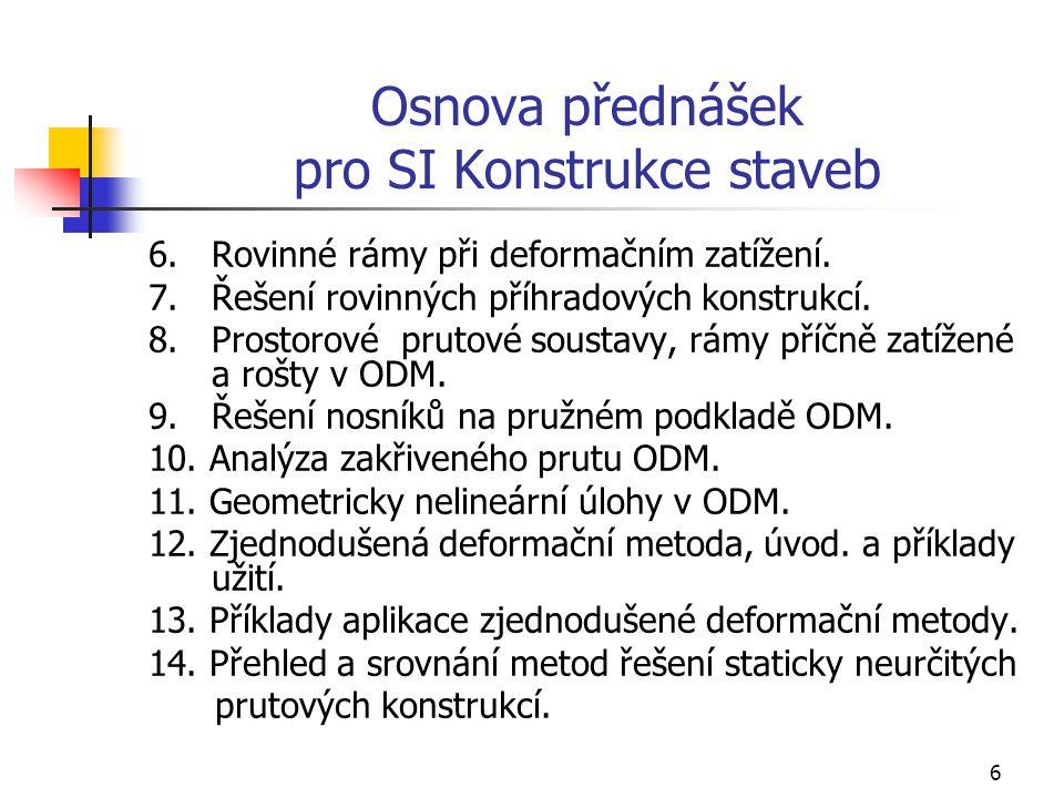 6 Osnova přednášek pro SI Konstrukce staveb 6.Rovinné rámy při deformačním zatížení.