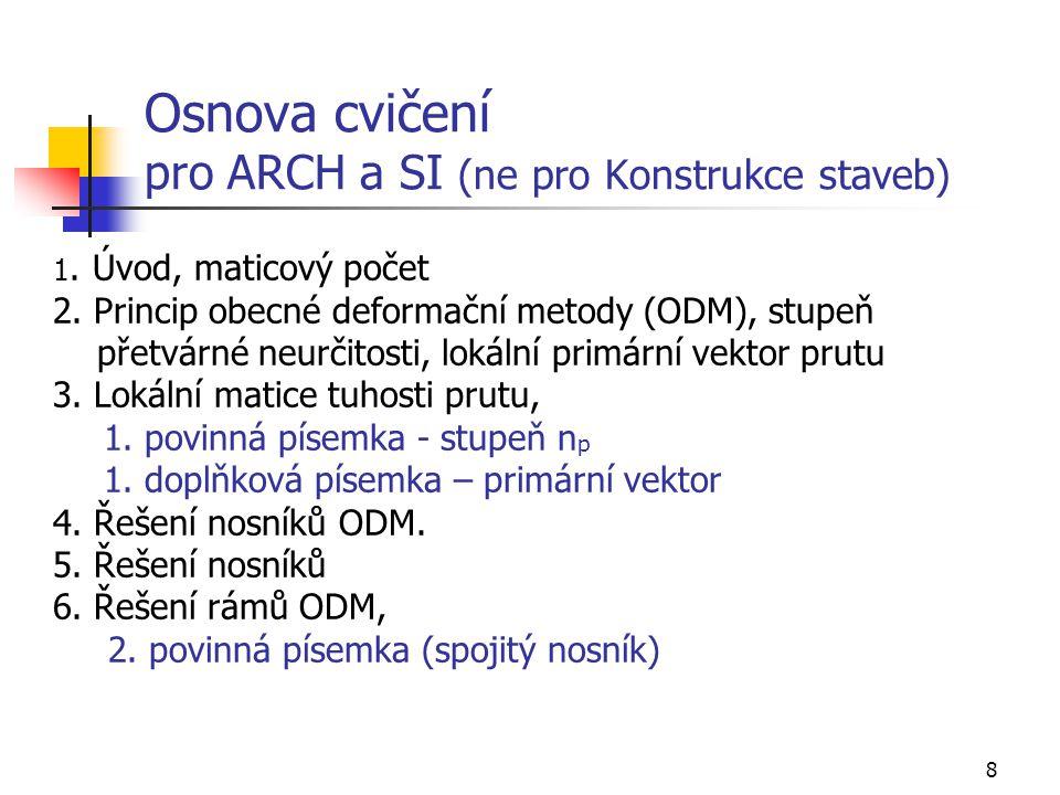 8 Osnova cvičení pro ARCH a SI (ne pro Konstrukce staveb) 1.