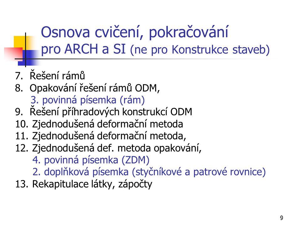 9 Osnova cvičení, pokračování pro ARCH a SI (ne pro Konstrukce staveb) 7.
