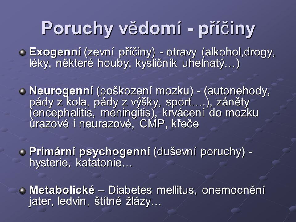 Poruchy vědomí - příčiny Exogenní (zevní příčiny) - otravy (alkohol,drogy, léky, některé houby, kysličník uhelnatý  ) Neurogenní (poškození mozku) -