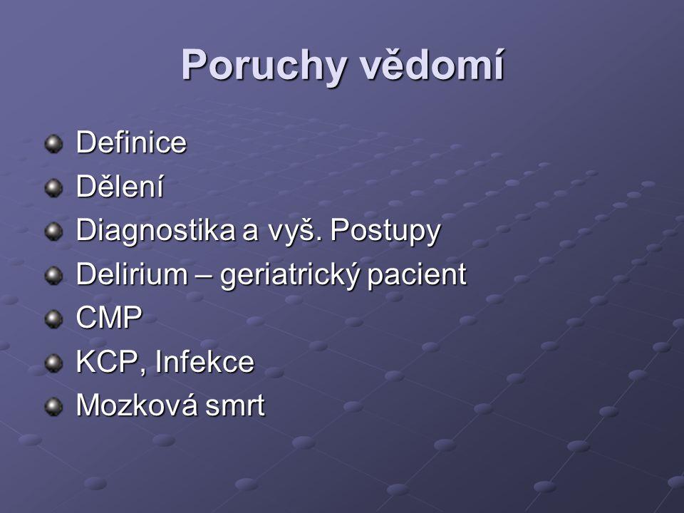Delirium - farmakoterapie Haloperidol, chlopromazine risperidon, olanzapine, promethazin BZD - midazolam, event.