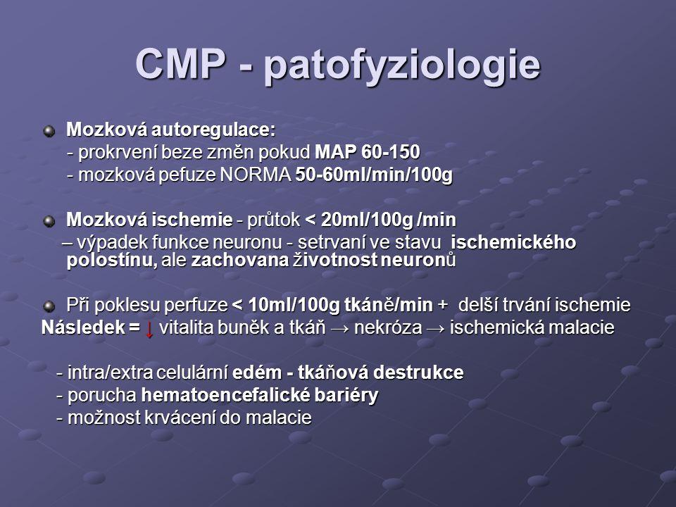 CMP - patofyziologie Mozková autoregulace: - prokrvení beze změn pokud MAP 60-150 - prokrvení beze změn pokud MAP 60-150 - mozková pefuze NORMA 50-60m