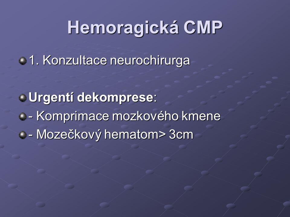 Hemoragická CMP 1. Konzultace neurochirurga Urgentí dekomprese: - Komprimace mozkového kmene - Mozečkový hematom> 3cm