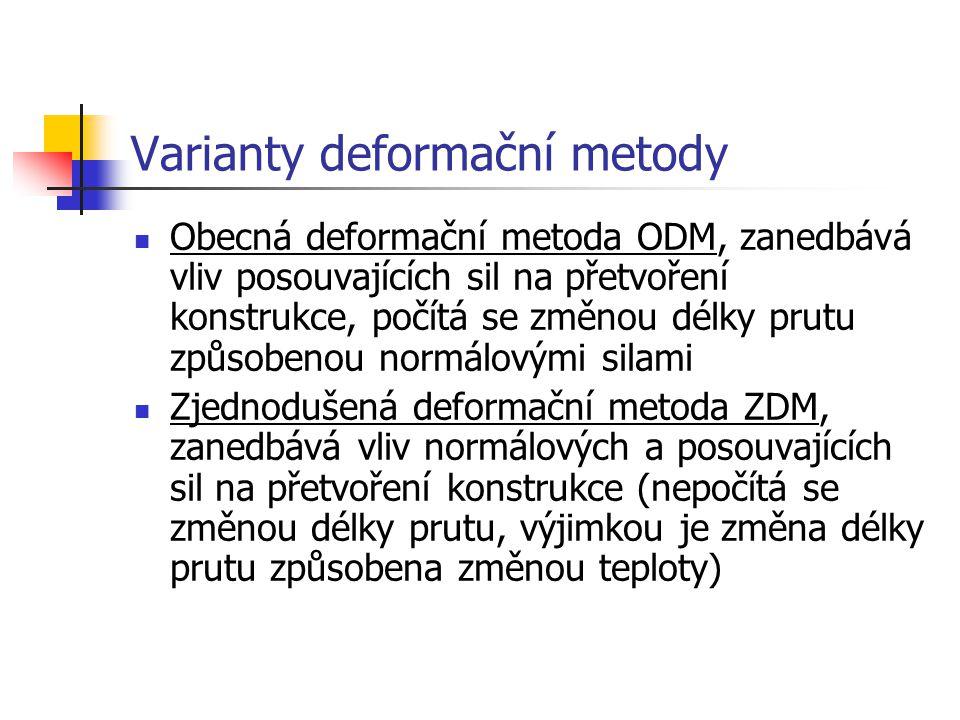 Varianty deformační metody Obecná deformační metoda ODM, zanedbává vliv posouvajících sil na přetvoření konstrukce, počítá se změnou délky prutu způso
