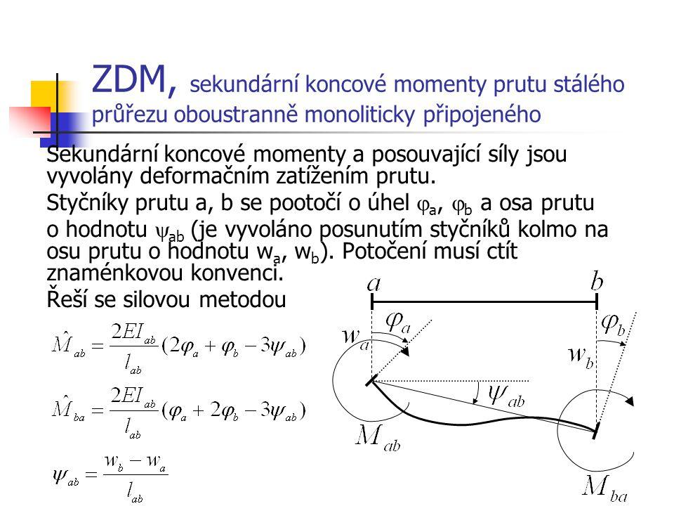 ZDM, sekundární koncové momenty prutu stálého průřezu oboustranně monoliticky připojeného Sekundární koncové momenty a posouvající síly jsou vyvolány