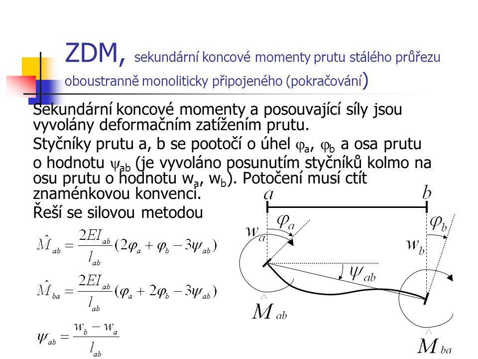 ZDM, sekundární koncové momenty prutu stálého průřezu oboustranně monoliticky připojeného (pokračování ) Sekundární koncové momenty a posouvající síly