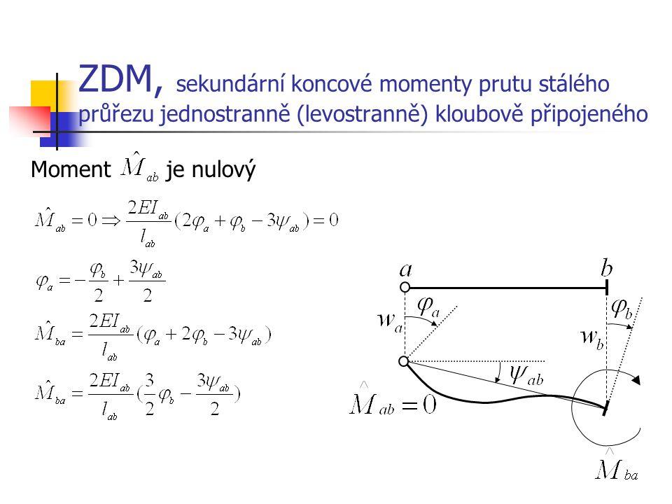 ZDM, sekundární koncové momenty prutu stálého průřezu jednostranně (levostranně) kloubově připojeného Moment je nulový