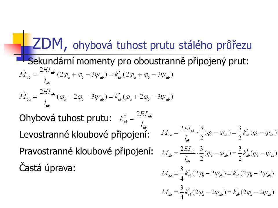 ZDM, ohybová tuhost prutu stálého průřezu Sekundární momenty pro oboustranně připojený prut: Ohybová tuhost prutu: Levostranné kloubové připojení: Pra