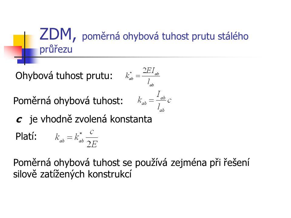 ZDM, poměrná ohybová tuhost prutu stálého průřezu Ohybová tuhost prutu: Poměrná ohybová tuhost: c je vhodně zvolená konstanta Platí: Poměrná ohybová t