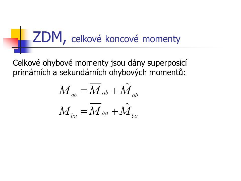 ZDM, celkové koncové momenty Celkové ohybové momenty jsou dány superposicí primárních a sekundárních ohybových momentů: