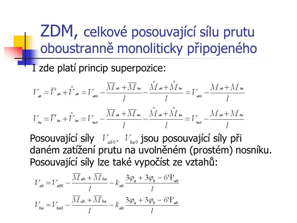 ZDM, celkové posouvající sílu prutu oboustranně monoliticky připojeného I zde platí princip superpozice: Posouvající síly jsou posouvající síly při da