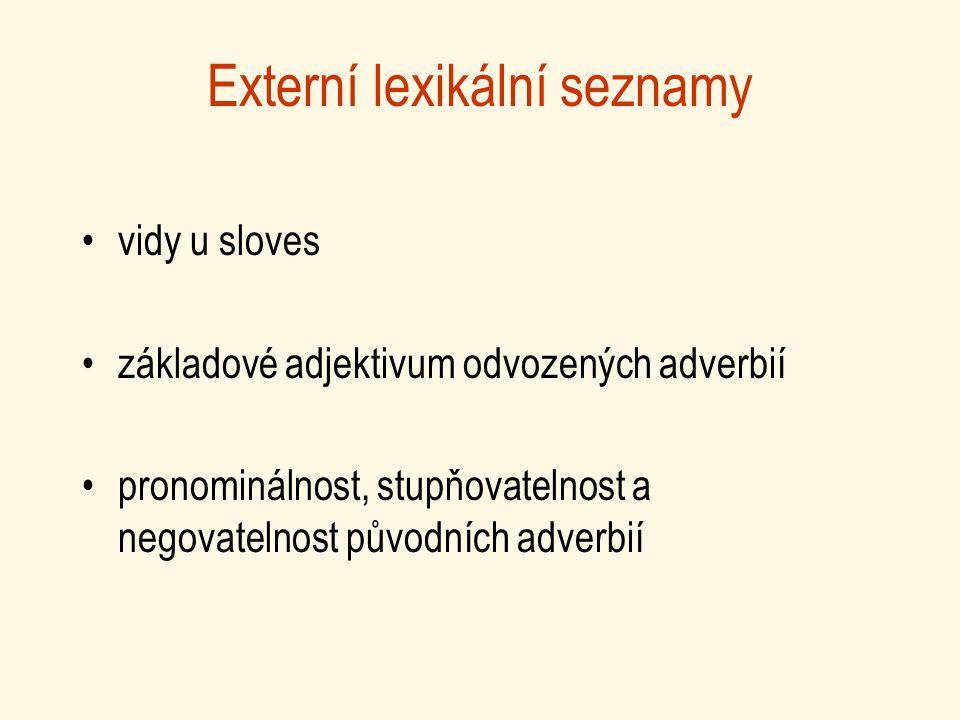 Externí lexikální seznamy vidy u sloves základové adjektivum odvozených adverbií pronominálnost, stupňovatelnost a negovatelnost původních adverbií
