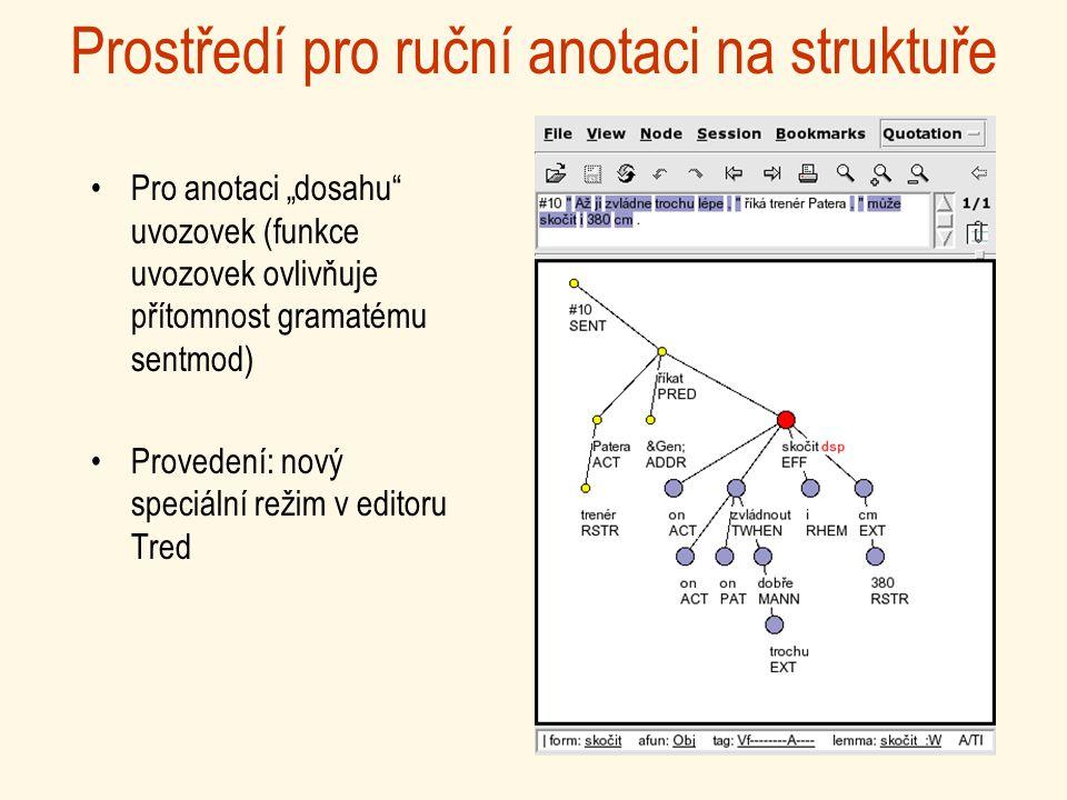 """Prostředí pro ruční anotaci na struktuře Pro anotaci """"dosahu uvozovek (funkce uvozovek ovlivňuje přítomnost gramatému sentmod) Provedení: nový speciální režim v editoru Tred"""