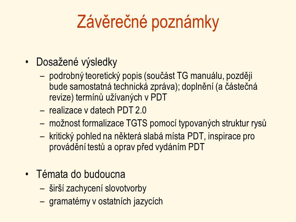Závěrečné poznámky Dosažené výsledky –podrobný teoretický popis (součást TG manuálu, později bude samostatná technická zpráva); doplnění (a částečná revize) termínů užívaných v PDT –realizace v datech PDT 2.0 –možnost formalizace TGTS pomocí typovaných struktur rysů –kritický pohled na některá slabá místa PDT, inspirace pro provádění testů a oprav před vydáním PDT Témata do budoucna –širší zachycení slovotvorby –gramatémy v ostatních jazycích