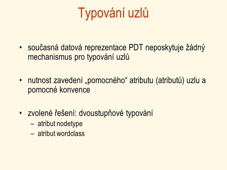 """Typování uzlů současná datová reprezentace PDT neposkytuje žádný mechanismus pro typování uzlů nutnost zavedení """"pomocného atributu (atributů) uzlu a pomocné konvence zvolené řešení: dvoustupňové typování –atribut nodetype –atribut wordclass"""