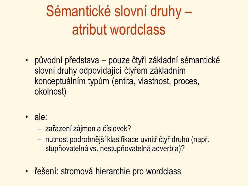 Sémantické slovní druhy – atribut wordclass původní představa – pouze čtyři základní sémantické slovní druhy odpovídající čtyřem základním konceptuálním typům (entita, vlastnost, proces, okolnost) ale: –zařazení zájmen a číslovek.