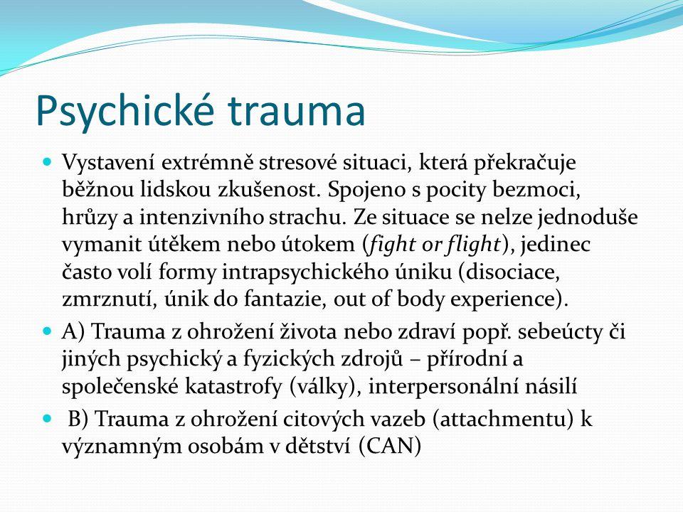 Psychické trauma Vystavení extrémně stresové situaci, která překračuje běžnou lidskou zkušenost.