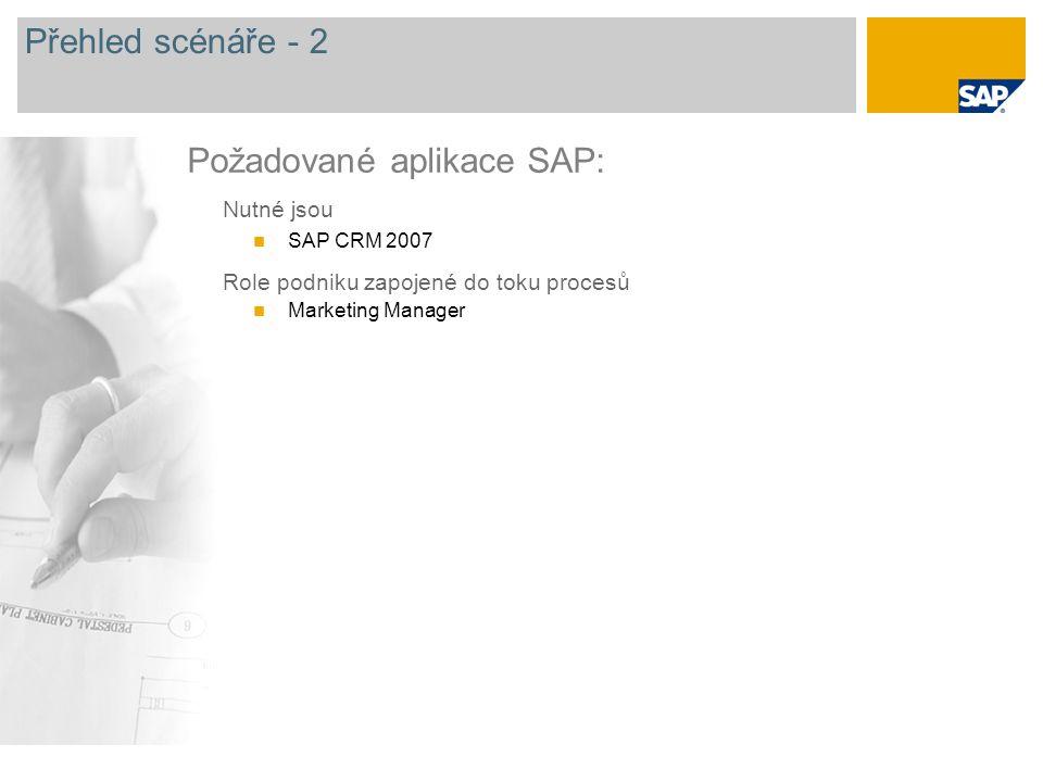 Přehled scénáře - 2 Nutné jsou SAP CRM 2007 Role podniku zapojené do toku procesů Marketing Manager Požadované aplikace SAP: