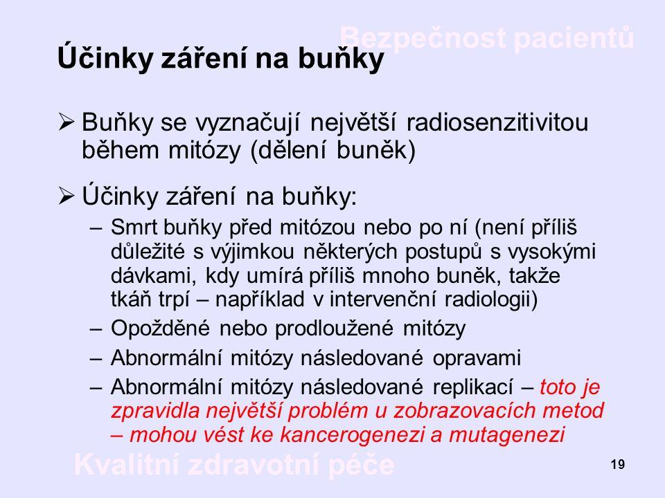 Bezpečnost pacientů Kvalitní zdravotní péče 19 Účinky záření na buňky  Buňky se vyznačují největší radiosenzitivitou během mitózy (dělení buněk)  Úč