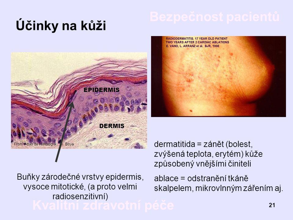 Bezpečnost pacientů Kvalitní zdravotní péče 21 Účinky na kůži DERMIS EPIDERMIS Buňky zárodečné vrstvy epidermis, vysoce mitotické, (a proto velmi radi