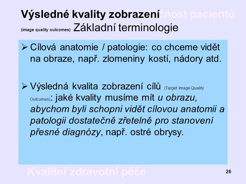 Bezpečnost pacientů Kvalitní zdravotní péče 26 Výsledné kvality zobrazení (image quality outcomes) Základní terminologie  Cílová anatomie / patologie