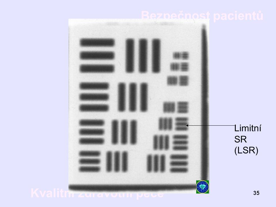 Bezpečnost pacientů Kvalitní zdravotní péče 35 Limitní SR (LSR)