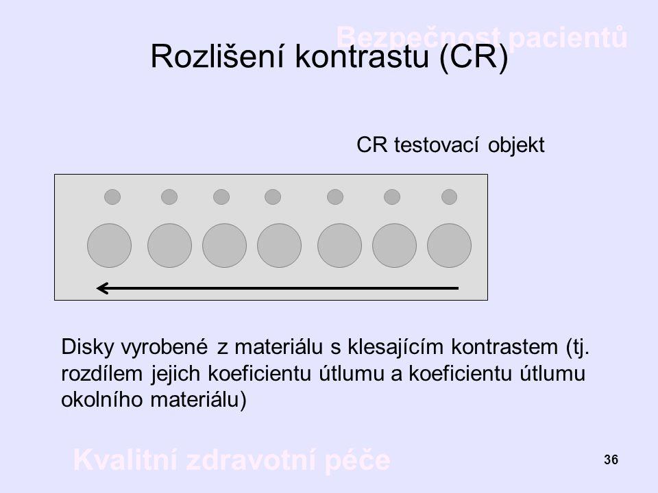 Bezpečnost pacientů Kvalitní zdravotní péče 36 Rozlišení kontrastu (CR) CR testovací objekt Disky vyrobené z materiálu s klesajícím kontrastem (tj. ro
