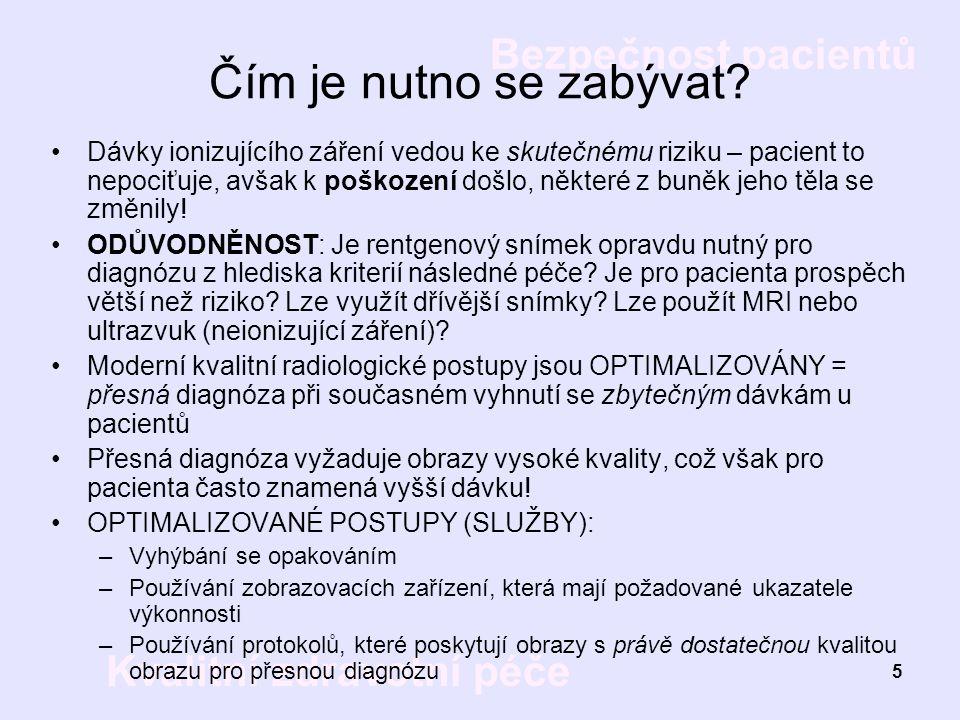Bezpečnost pacientů Kvalitní zdravotní péče 5 Čím je nutno se zabývat? Dávky ionizujícího záření vedou ke skutečnému riziku – pacient to nepociťuje, a