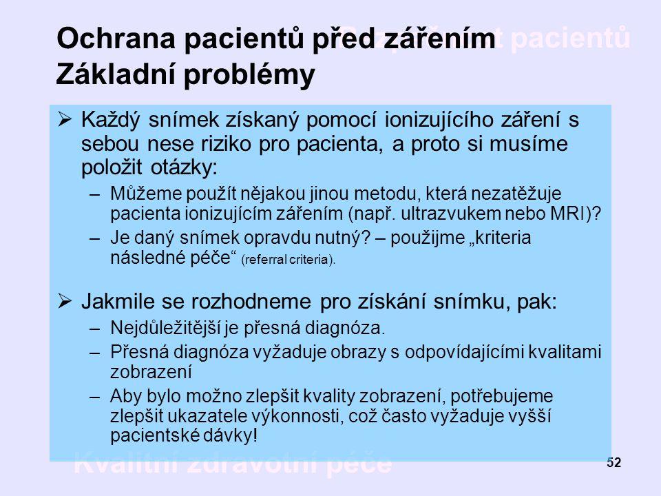 Bezpečnost pacientů Kvalitní zdravotní péče 52 Ochrana pacientů před zářením Základní problémy  Každý snímek získaný pomocí ionizujícího záření s seb