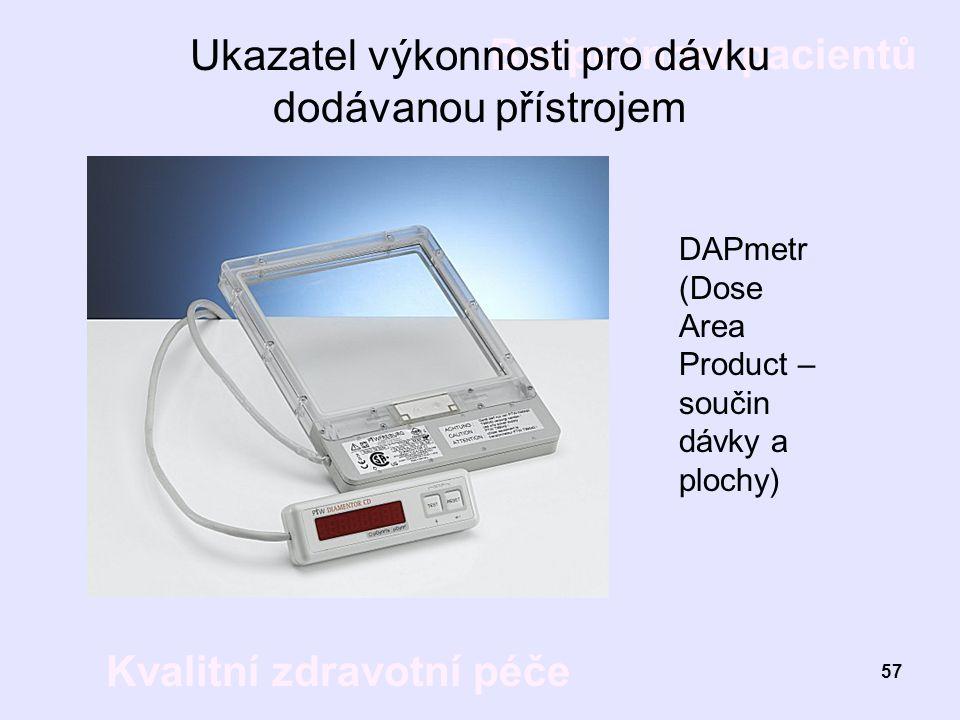 Bezpečnost pacientů Kvalitní zdravotní péče 57 Ukazatel výkonnosti pro dávku dodávanou přístrojem DAPmetr (Dose Area Product – součin dávky a plochy)