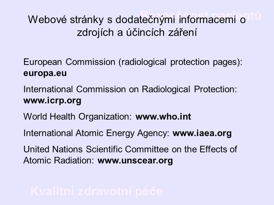 Bezpečnost pacientů Kvalitní zdravotní péče European Commission (radiological protection pages): europa.eu International Commission on Radiological Pr