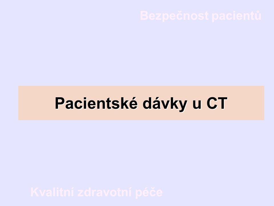 Bezpečnost pacientů Kvalitní zdravotní péče Pacientské dávky u CT
